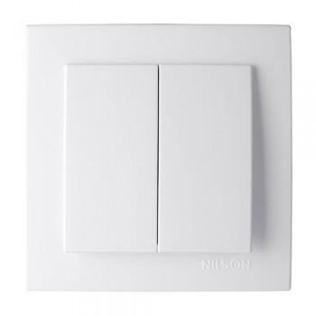 Nilson Touran выключатель двухклавишный белый