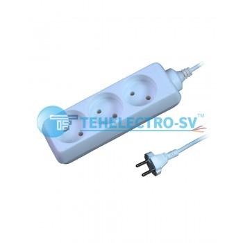 Удлинитель электрический HC03K 3 гнезда  б/з и выкл 1.5м (16A)